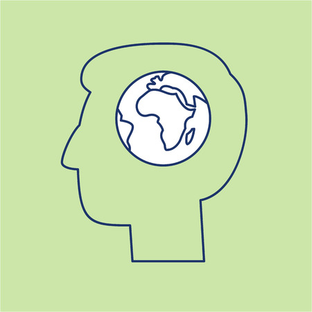 antipollution: Globe in brain of human head ecology and environment vector icon and infographic blue and white on green background