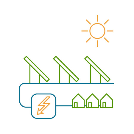 antipollution: Solar energy system ecology and environment vector icon and infographic colorful on white background