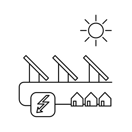 antipollution: Solar energy system ecology and environment vector icon and infographic black on white background