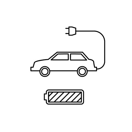 antipollution: Electric car and battery ecology and environment vector icon and infographic black on white background