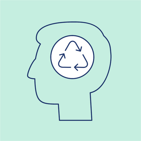 antipollution: Man thinking about ecology recycling in head ecology and environment vector icon and infographic blue and white on green background
