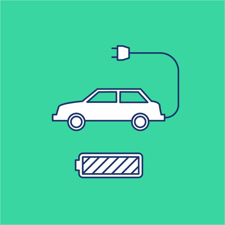 antipollution: Electric car and battery ecology and environment vector icon and infographic blue and white on green background Illustration