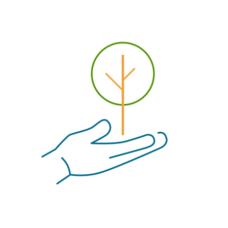 deciduous tree: Deciduous tree growing in hand ecology and environment vector icon and infographic colorful on white background