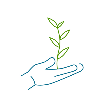 earth hands: Growing plant in hands ecology and environment vector icon and infographic colorful on white background