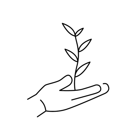 Growing plant in hands ecology and environment vector icon and infographic black on white background