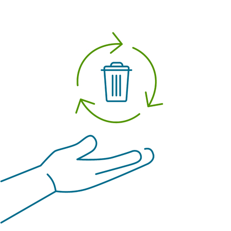 antipollution: Recycle bin in hand gesture ecology and environment vector icon and infographic colorful on white background