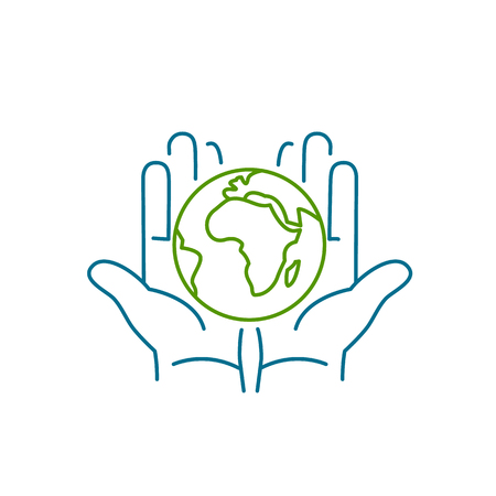 hands holding globe: Hands holding globe in palms ecology and environment vector icon and infographic colorful on white background