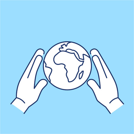 Hands holding softly globe ecology and environment vector icon and infographic blue and white on blue background