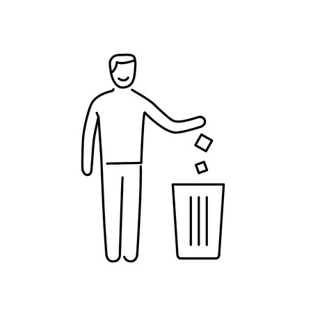 Symbol with recycle bin and human ecology and environment vector icon and infographic black on white background Illustration