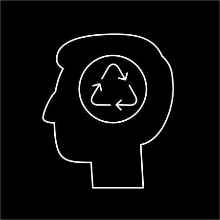 black man thinking: Man thinking about ecology recycling in head ecology and environment vector icon and infographic white on black background