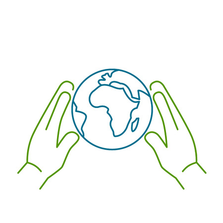 Hands holding softly globe ecology and environment vector icon and infographic colorful on white background