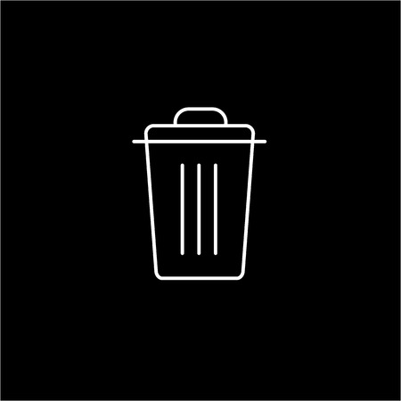 antipollution: Recycle bin ecology and environment vector icon and infographic white on black background