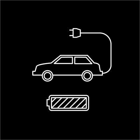 antipollution: Electric car and battery ecology and environment vector icon and infographic white on black background Illustration