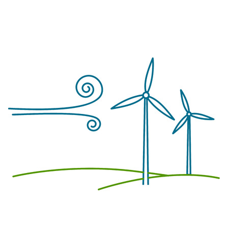 Wind turbine ecology and environment vector icon and infographic blue on white background