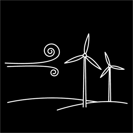 antipollution: Wind turbine ecology and environment vector icon and infographic white on black background Illustration