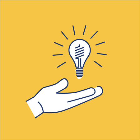 antipollution: Energy saving light bulb in hand ecology and environment vector icon and infographic blue and white on yellow background