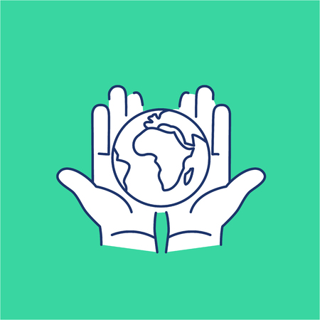hands holding globe: Hands holding globe in palms ecology and environment vector icon and infographic blue and white on green background