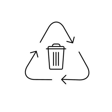 antipollution: Recycling symbol with trash bin in center ecology and environment vector icon and infographic black on white background
