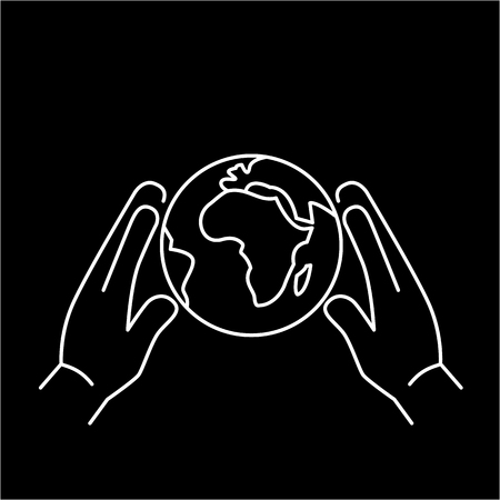 softly: Hands holding softly globe ecology and environment vector icon and infographic white on black background Illustration