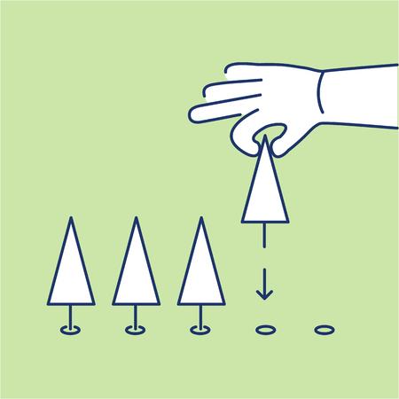 plantar árbol: �rbol de la mano plantaci�n ecolog�a y medio ambiente icono del vector y azul infograf�a y blanco sobre fondo verde
