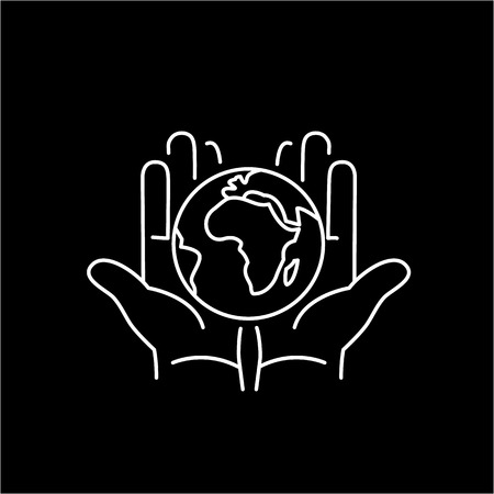 hands holding globe: Hands holding globe in palms ecology and environment vector icon and infographic white on black background