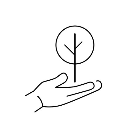 deciduous tree: Deciduous tree growing in hand ecology and environment vector icon and infographic black on white background
