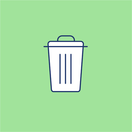 Recycle bin ecology and environment vector icon and infographic blue and white on green background