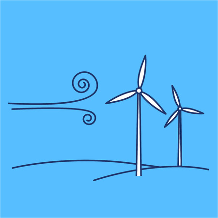 antipollution: Wind turbine ecology and environment vector icon and infographic blue and white on blue background