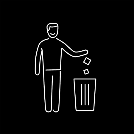 antipollution: Symbol with recycle bin and human ecology and environment vector icon and infographic white on black background