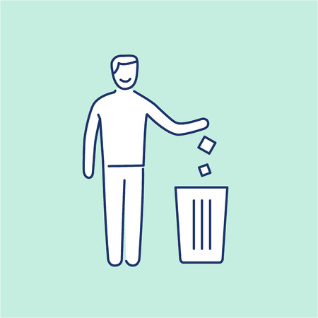 antipollution: Symbol with recycle bin and human ecology and environment vector icon and infographic blue and white on green background