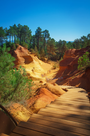 ochre: Famous red clifs of Roussillon and ochre quarries Vaucluse, Luberon, Provence, France