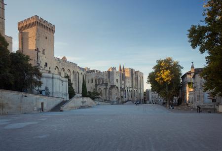 avignon: Avignon Popes Palace famous square at sunrise, Provence, France