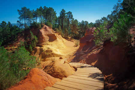 luberon: Famous red clifs of Roussillon and ochre quarries Vaucluse, Luberon, Provence, France