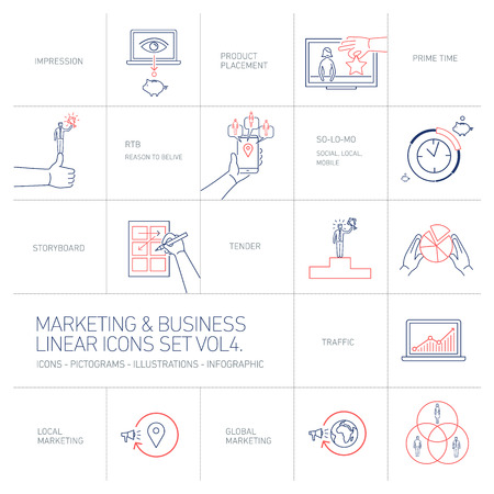 brand monitoring: vector marketing and business icons set volume four | flat design linear illustration and infographic blue and red isolated on white background