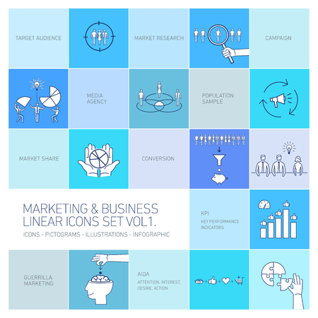 brand monitoring: vector marketing and business icons set volume one | flat design linear illustration and infographic isolated on colorful blue background