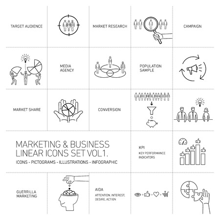 brand monitoring: vector marketing and business icons set volume one | flat design linear illustration and infographic black isolated on white background Stock Photo