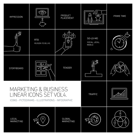 brand monitoring: marketing and business icons set volume four | flat design linear illustration and infographic white isolated on black background Stock Photo