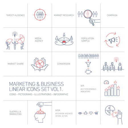brand monitoring: vector marketing and business icons set volume one | flat design linear illustration and infographic blue and red isolated on white background