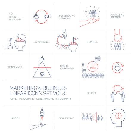 social awareness symbol: vector marketing and business icons set volme three | flat design linear illustration and infographic blue and red isolated on white background