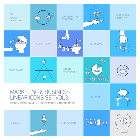 social awareness symbol: vector marketing and business icons set volme three | flat design linear illustrationand infographic  isolated on colorful blue background