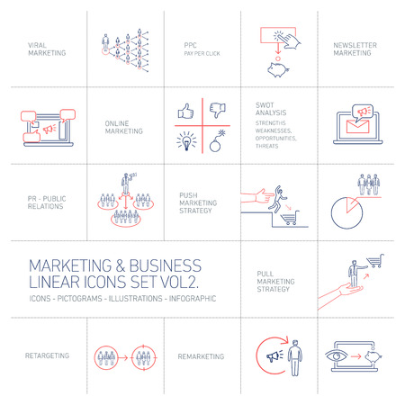 vector marketing and business icons set volume two | flat design linear illustration and infographic blue and red isolated on white background Stock Photo