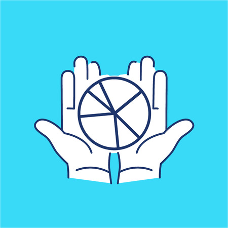 share market: Conceptual vector icon of market share pie chart in open hands | modern flat design marketing and business linear illustration and infographic concept on blue background Illustration