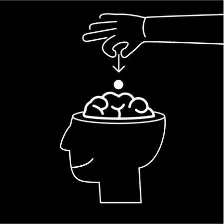 Conceptual vector icon of suggestion viral and guerilla marketing inserting thoughts into the brain | modern flat design business linear illustration and infographic concept white on black background