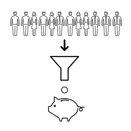 conversion: Conceptual vector icon of users conversion to money in business | modern flat design marketing linear illustration and infographic concept black on white background