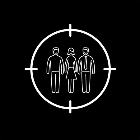 targeted: Conceptual vector target audience icon | modern flat design marketing and business linear illustration and infographic concept white on black background