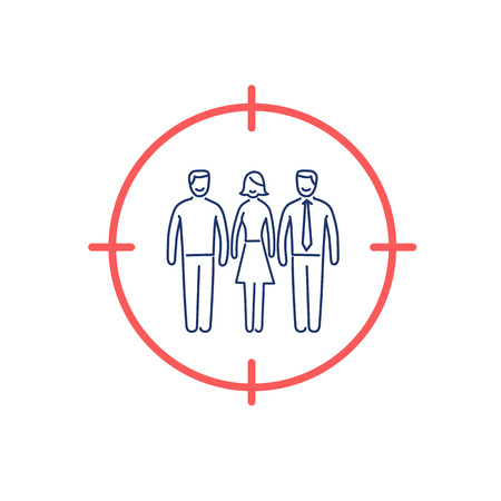 audiences: Conceptual vector target audience icon   modern flat design marketing and business linear illustration and infographic concept red and blue  on white background