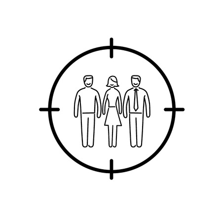 bull's eye: Conceptual vector target audience icon | modern flat design marketing and business linear illustration and infographic concept black on white background