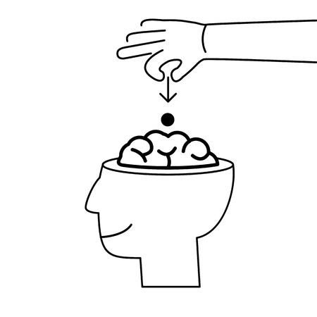 Konzeptionelle Vektor-Symbol der Suggestion virales und Guerilla-Marketing Einfügen Gedanken in das Gehirn | moderne Wohnung-Design-Geschäft lineare Illustration und Infografik-Konzept schwarz auf weißem Hintergrund