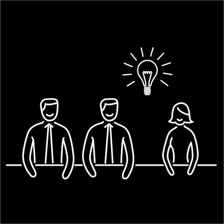 briefing: Vector icon of creative meeting | modern flat design marketing and business linear illustration and infographic concept white on black background