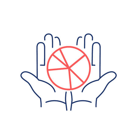 open hands: Conceptual vector icon of market share pie chart in open hands | modern flat design marketing and business linear illustration and infographic concept red and blue on white background Illustration